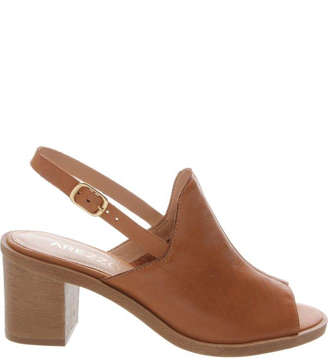 Sandal Boot Couro Salto Madeira Natural Tan