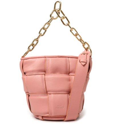 Bolsa Bucket Rosa Couro Pequena Gaby