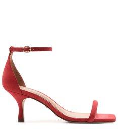 Sandália Vermelha Salto Taça Nobuck Bico Quadrado