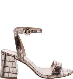 Sandália West Croco Salto Bloco New Titanium