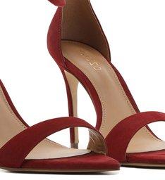 Sandália Vermelha Nobuck Salto Fino Lace Up Flâmula