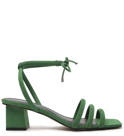 Sandália Verde Nobuck Salto Baixo Bloco