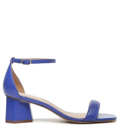 Sandália Azul Couro Bloco Geométrica