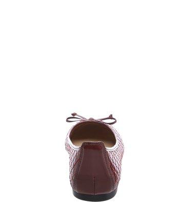 Sapatilha Bico Redondo Laço Metalassê Vinho