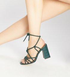Sandália de Amarrar Verde Croco Salto Alto