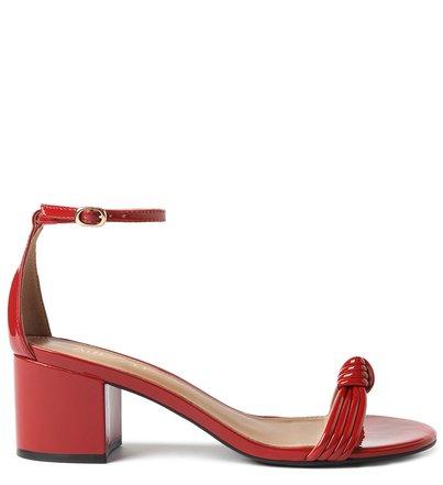 Sandália Vermelha Verniz Bloco Tiras