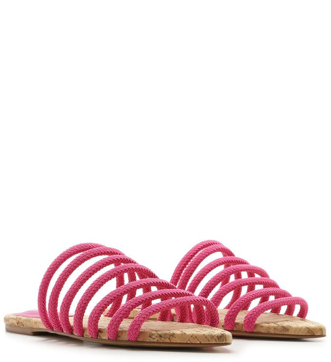 Rasteira Corda Bico Folha Tiras Pink Absolut