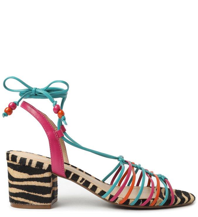 Sandália de Amarrar Multicolorida Salto Bloco Animal Fun