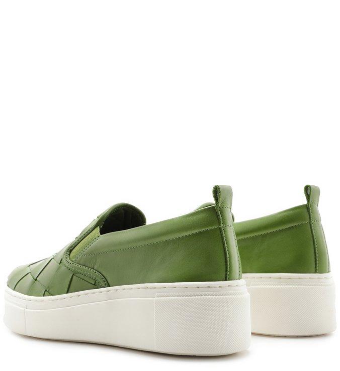 Tênis Slip On Verde de Couro Maxi Tressê Gaia Green