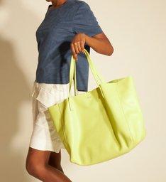 Bolsa Shopping Verde Couro Fio Grande
