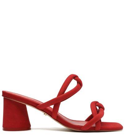 Sandália Vermelha Nobuck Bloco Tiras Chiara