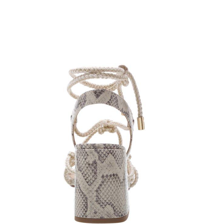 Sandália Snake Cordão Amarração Natural e Porcelana