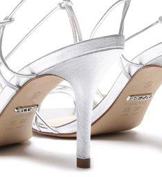 Sandália Couro Metalizado Tirinhas Salto Médio Silver