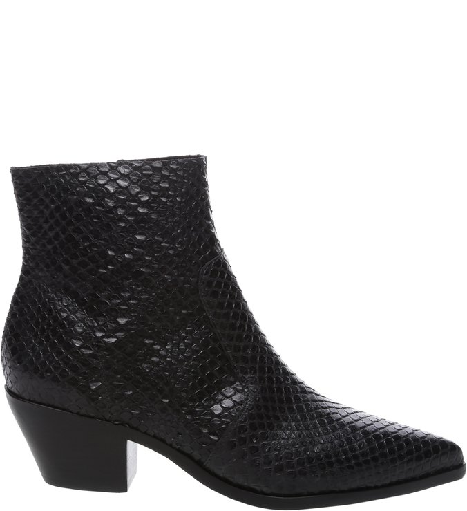 Ankle Boot Couro Skin West Preta