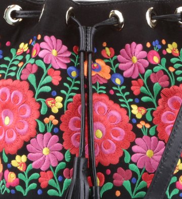 Bolsa Tiracolo Floral Negro