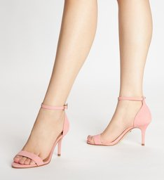 Sandália Isabelli Nobuck Salto Médio Fino Flower Pink
