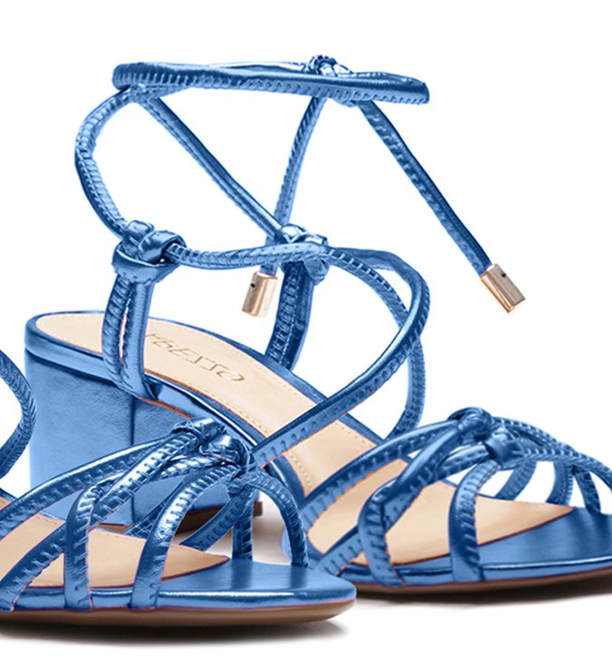 Sandália Metalizada Tiras Amarração Azul