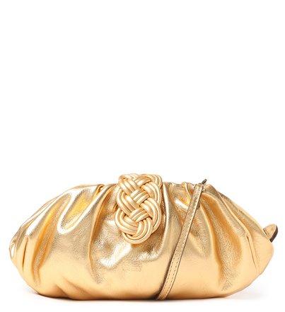Bolsa Tiracolo Dourada Couro Maia Média