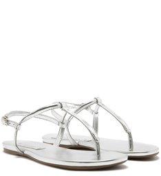 Sandália Rasteira Metalizada Tiras Silver