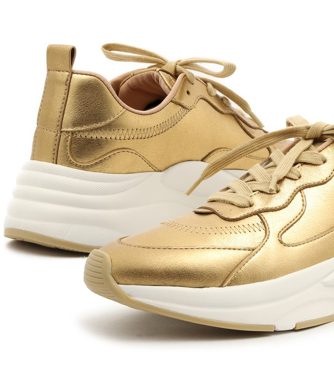 Tênis Dourado Couro Amarração Esportivo