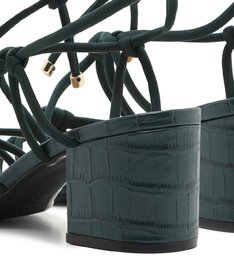 Sandália de Amarrar Verde Croco Salto Baixo