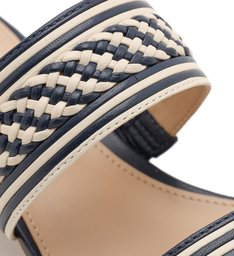 Sandália Azul Salto Bloco Tira Dupla Tressê