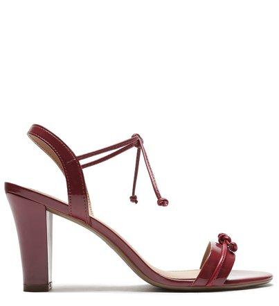 Sandália Vermelha Verniz Salto Bloco Tira Amarração