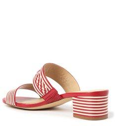 Sandália Vermelha Salto Bloco Tira Dupla Tressê