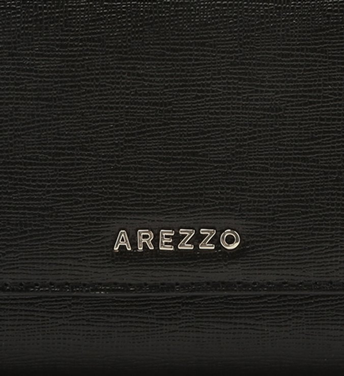 Carteira Arezzo Preta Couro Grande