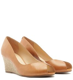 Scarpin Couro Peep Toe Anabela Natural Wood