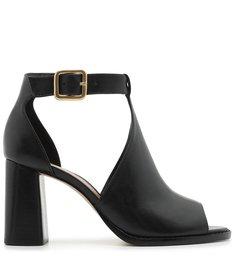 Sandal Boot Preta Couro Salto Bloco Fivela