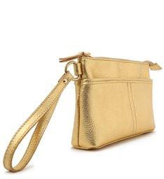 Necessaire Dourada Couro Grande Monalisa