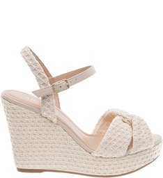 Sandália Plataforma Crochê Natural Off White