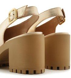 Sandal Boot Dourada Couro Salto Médio Tratorado Fivela
