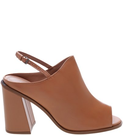 Sandal Boot Couro Salto Bloco Nude
