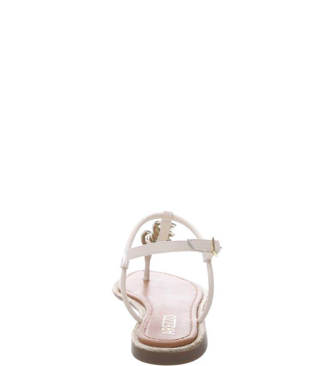 Sandália Salto Rasteiro  Corrente Dourada Off White