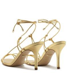 Sandália Couro Metalizado Tirinhas Salto Médio New Golden