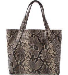 Bolsa Shopping Couro Victoria Grande Snake Osso