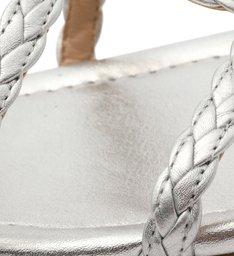 Rasteira Prata Trançados Fivela Silver