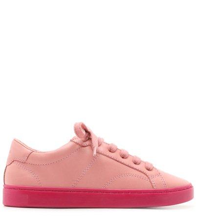 Tênis Amarração Rosa Couro Sola Alta Flower Pink