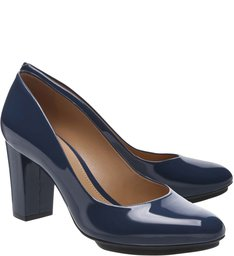 Scarpin Verniz Plataforma Office Blue