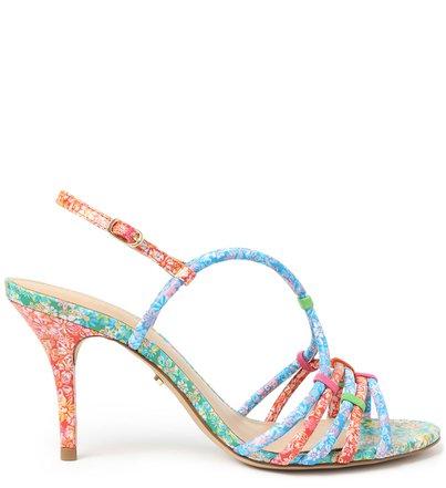 Sandália Multicolorida Salto Fino Floral