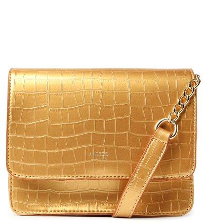 Bolsa Tiracolo Dourada Croco Catarina Pequena