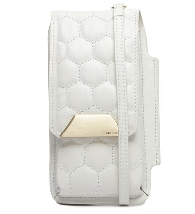 Mini Bolsa Porta-Celular Branca Couro Bee.ZZ