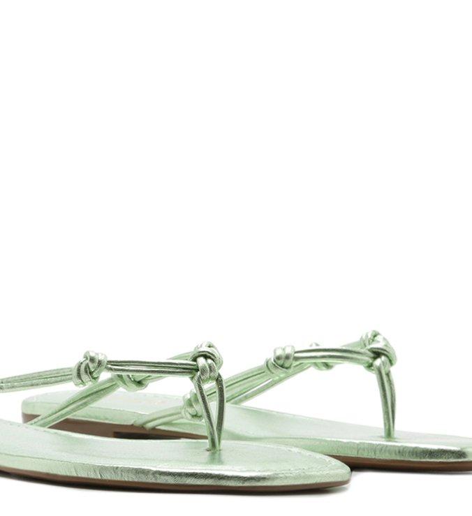 Chinelo Bico Quadrado Tiras Nós Verde Metal
