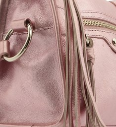[ELE VOLTOU] Bolsa Tiracolo Couro Adriana Pequena Metalizada Rosa Claro