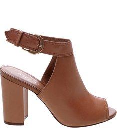 Sandal Boot West Side Couro Salto Alto Bloco Light Toast