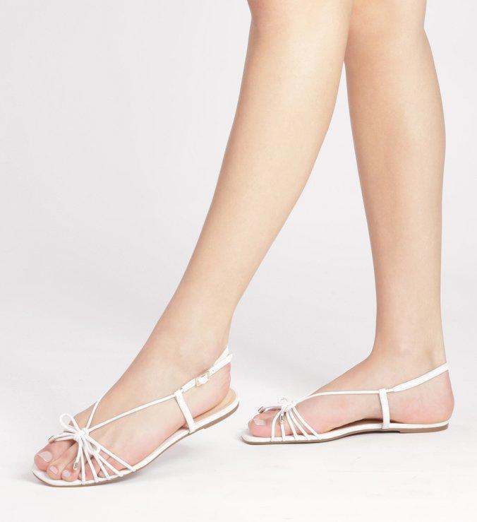 Sandália Rasteira Couro Tiras Tiny Bow Bianco