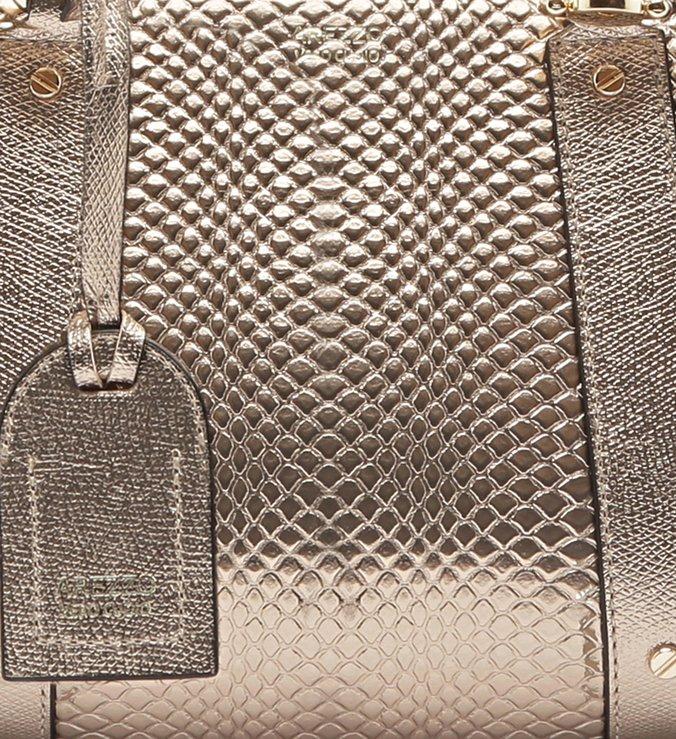 Bolsa Tote Viper Skin Metal Piazza Média New Titanium