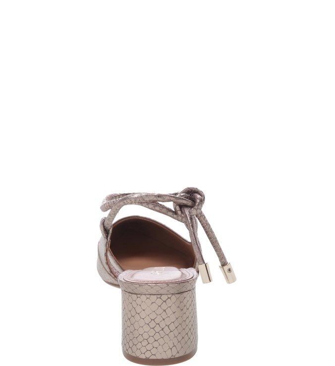 Scarpin Couro Salto Baixo Bloco Amarração Snake New Titanium
